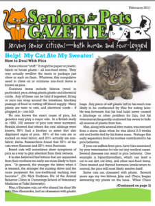 Seniors for Pets - Gazette February Cover