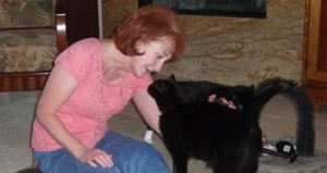 Sondra Johnson & rescued cat
